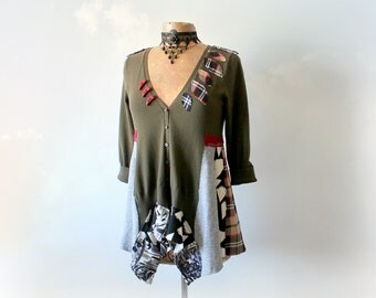 Upcycled Clothing Olive Green Cardigan Bohemian Sweater Unique Art Clothing Office Career Wear Trendy Hipster Eco Altered Sweater M 'BROOKE'
