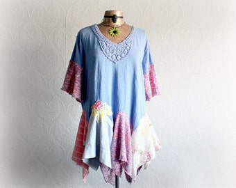 Colorful Boho Top Plus Size Tunic Lagenlook Clothing Upcycled Women's Shirt Pastel Periwinkle Spring Fashion Layered-Look Top 2X 'MELANIE'