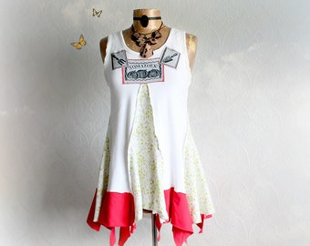 White Tank Top Clothing Upcycled Garden Woodland Tattered Clothes Bohemian Chic Art To Wear Shirt Country Tunic Lagenlook Top Large 'AMELIA'