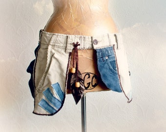 Boho Fanny Pack Upcycled Cargo Purse Hip Waist Carrier Bohemian Chic Tribal Clothes Festival Money Belt Hippie Bag Jean Pockets M L 'STACIE'