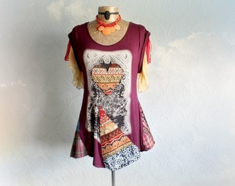 Women Boho Clothing Burgundy Tunic Patchwork Style Mori Girl Top Art To Wear Upcycle Bohemian Funky Heart Shirt Gypsy Eco Fashion L 'NELLIE'