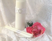 Unity Candle Set Lace Unity Candle Bling Unity Candle Romantic Wedding Unique Candle Ribbon & Candle Color Choice Candle Stand Optional