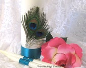 Feather Unity Candle Set Peacock Unity Candle Teal Unity Candle Wedding Cheap Unity Candle Ribbon Candle Color Choice Stand Optional