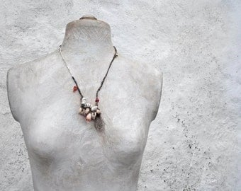 SOLD to Linda   a beachcombers' pocketful  sculptural necklace