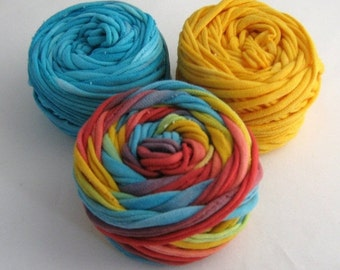 Small Yarn Ball Trio- Rainbow/Sunshine/Aqua 30 Yards