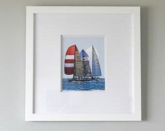 Framed Sailboat Art, Newport to Bermuda Framed Photography, Framed Art, Framed Sailboat Print, Nautical Art, Framed Print, Red White Blue