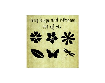 TINY BUGS and BLOOMS Rubber Stamp Set of Six~ Rubber Stamp~Small flowers,bugs,leaves~Solid Silhouette Stamps~(34-4,5,6,7,8,9)