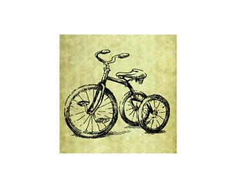 TRICYCLE BIKE Rubber Stamp~Trike~Bicycle~Vintage Childrens Bike~Tricycle~Old Fashioned~Antique~Unmounted~Cling Stamp (53-06)