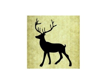 DEER BUCK SILHOUETTE Rubber Stamp~Large Cling Stamp~Stag~Antlers~Solid~Christmas~Holiday~Thanksgiving~Fall~Autumn~Forest (54-07 )