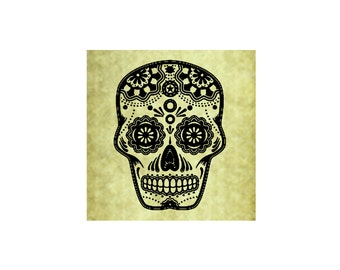SUGAR SKULL Rubber Stamp,Large or small option,Day of the Dead,Halloween,Party Favor,Decor,Cling Stamp (54-03lg)(54-16sm)