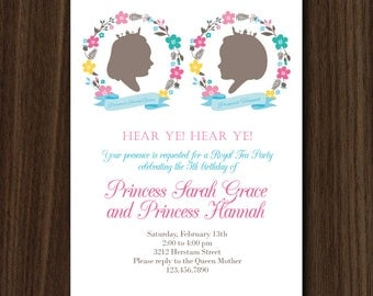 Twins Princess Invite, Twins Silhouette Invitation, Twins Party, Twins Princess Birthday, YOUR CUSTOM SILHOUETTESTwins Floral Invite