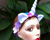 Unicorn horn headband with ears and felt flowers on cotton headband