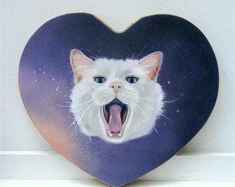 Galaxy Cat Oil Painting on wood Original Art Lowbrow