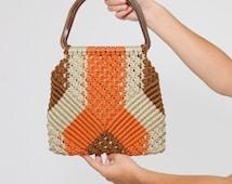 Vintage 70s MACRAMÉ Handbag WOVEN Handbag with LUCITE Handles Boho Bag Sunset Hippie Bag