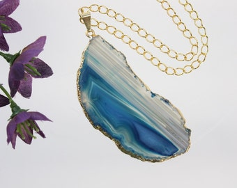 Blue Agate Pendant, Agate Necklace, Agate Slice, Teal Agate Pendant, Boho Jewelry, Gold Plated Agate, Layered Necklace, Boho Necklace, APS38