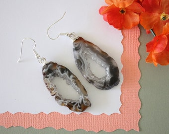 Geode Earrings, Crystal Slice Earrings, Agate, Druzy Natural Earrings, Boho Earrings, Natural Rocks, GNE26