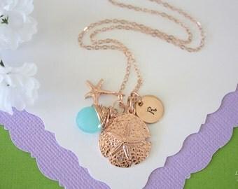 Rose Gold Initial Charm Sand Dollar Necklace, Custom Necklace, Birthstone, Beach Wedding, Nautical, Starfish, Initial Jewelry, Vacation,