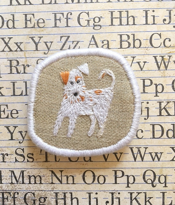 Textile Pet Portrait Brooch - Fox Terrier Puppy. Funny Dogs - collection, hand embroidered textile dog jewelry. Dog portrait. Dog Embroidery