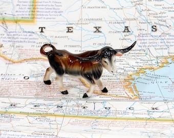 Vintage Miniature | Texas Longhorn |  Cow Bull | Porcelain Animal Figurine | Home Decor | Animal Figurine | Steer Horns | Brown Cow
