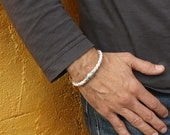 White Leather Magnetic Bracelet / Braided Leather Bracelet with Magnetic Clasp / White Wristband / Skye