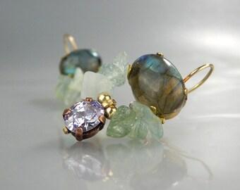 Labradorite Earrings, Gemstone Earrings, Dangle Earrings, Butterfly Earrings, Natural Labradorite, Mother Gift, Unique Dangle Earrings