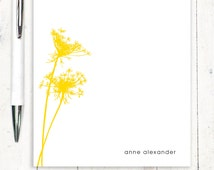 personalized notePAD - QUEEN ANNES LACE - stationery - stationary - flower - floral