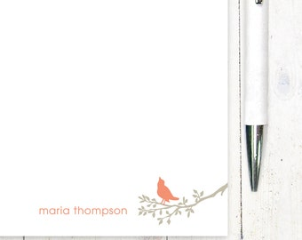 personalized notePAD - BIRD ON BRANCH - stationery - stationary - choose colors