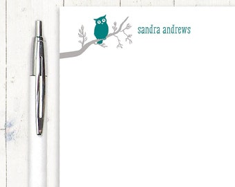 personalized notePAD - OWL ON BRANCH - stationery - stationary - letter writing paper - nature