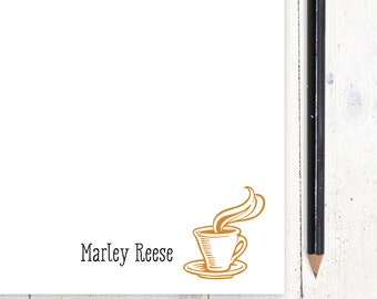 personalized notePAD - HOT COFFEE CUP - stationery - stationary - letter writing paper
