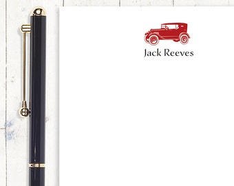 personalized notePAD - VINTAGE CAR AUTOMOBILE - stationery - stationary - letter writing paper