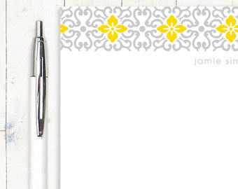 personalized notePAD - ORNAMENTAL FLOWER - stationery - stationary - choose colors