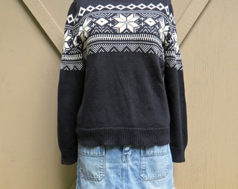90s vintage Southwestern Patterned Black and White Cotton Sweater / Chaps Denim Patterned Sweater