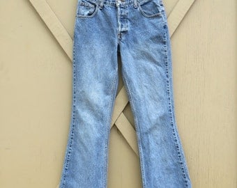 90s vintage AEO High Waist Faded Denim Flare Jeans / American Eagle Outfitters
