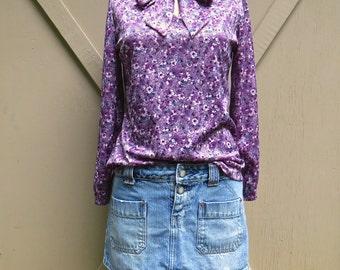 70s vintage Boho Purple Floral Print Blouse / Hippie Festival Blouse