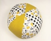 Soft Toy Ball with a Rattle Inside - Organic Fabric - Early Motor Skill Toy - Gender Neutral - Mod Fruits in Mustard Yellow