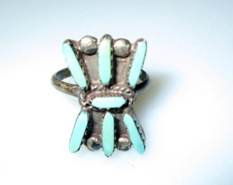 RING  - TURQUOISE -PETITE Point  - 925 - Sterling Silver - size 6 -  Turquoise61