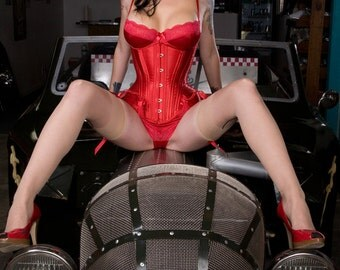 Red satin custom made underbust corset