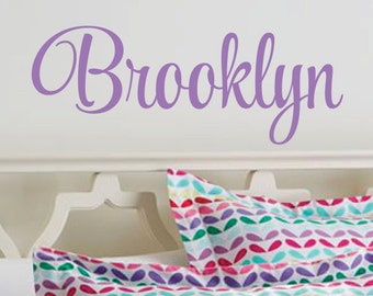 Name wall decal, personalized baby girl name, monogram, vinyl name decal, nursery wall decal, fancy script style vinyl letters, vinyl decals