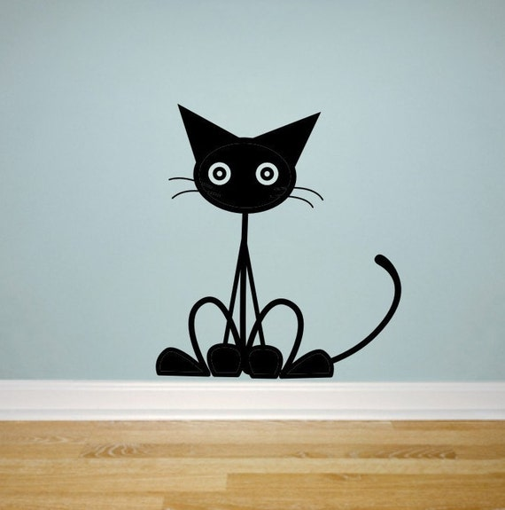 Cat Wall Decal - black cat wall decal - vinyl wall decal - kitty - pet