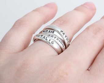 Quad Ring, Two Stamped Interlocking Mother's Rings, perfect for the Mom of Four!  Stackable Name Ring Set of two Doubles. Sterling Silver