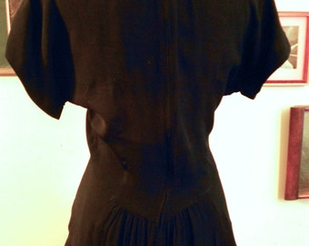 "1940's, 36"" bust, black rayon crepe dress"