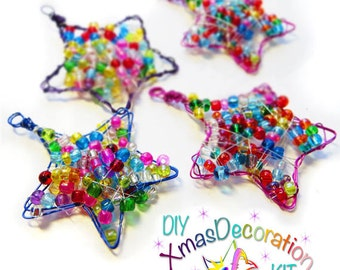 "Craft Kit Gift Set, Set of 4 ""Festive Star"" Kids Craft Kits in Assorted Colours, DIY Beaded Ornament, Holiday Craft, Xmas gift"