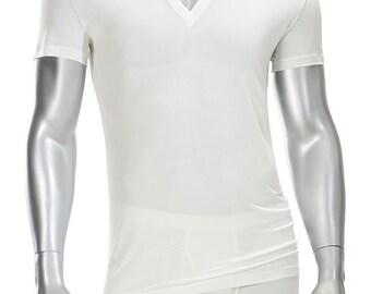Mens Deep V-neck T Shirt - 100% Silk -White