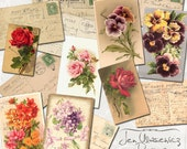 Vintage Floral Postcards digital scrapbooking graphics / clipart / instant download / printable / ephemera