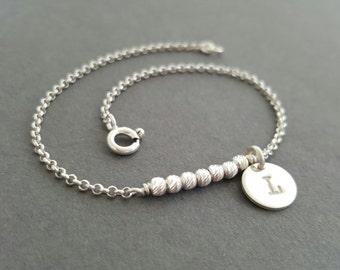 Silver Bar Bracelet initial bracelet sterling disc charm bracelet personalised gifts for her daughter sister mother grandmother necklace
