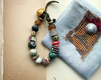 The Ancients Bead Bracelet w / Artisan Lampwork, Stoneware, Porcelain and Metal Beads On Waxed Buckskin Leather For a 6 to 7 Inch Wrist