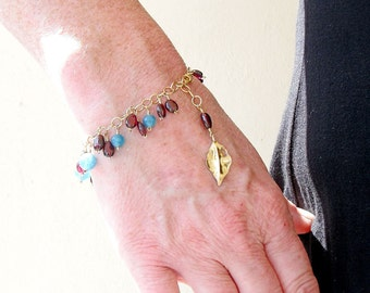 Gold Filled Bracelet, Angelite Jewellery, Garnet Bead Bracelet, Classic Jewellery, Blue Bracelet, Ladies Gold Bracelet, Bohemian Garnet