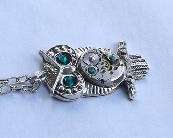 Steampunk Owl Emerald Green Crystal Vintage Watch Movement Pendant