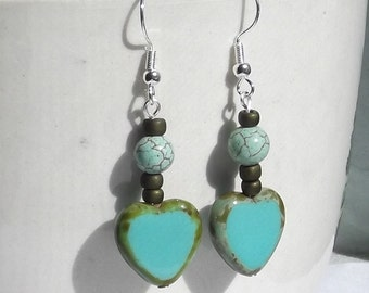 Turquoise Glass Heart Earrings