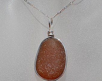 California Amber Brown Sea Glass Necklace